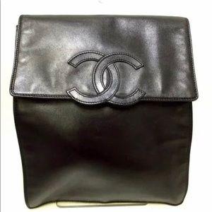 Auth CHANEL Calfskin CC Logo Flap Bag Backpack